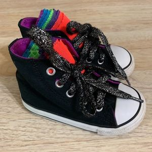 Converse Black with Rainbow Tulle & Glitter Laces